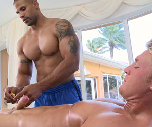 watch men massage third man than fuck him hard